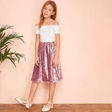 Girls Rib-knit Bardot Top & Sequin Skirt Set