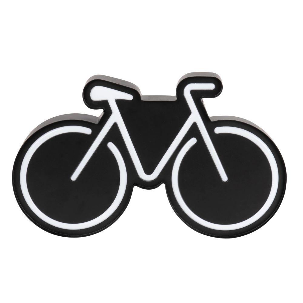 Leuchtdeko Fahrrad aus Metall, schwarz und weiss