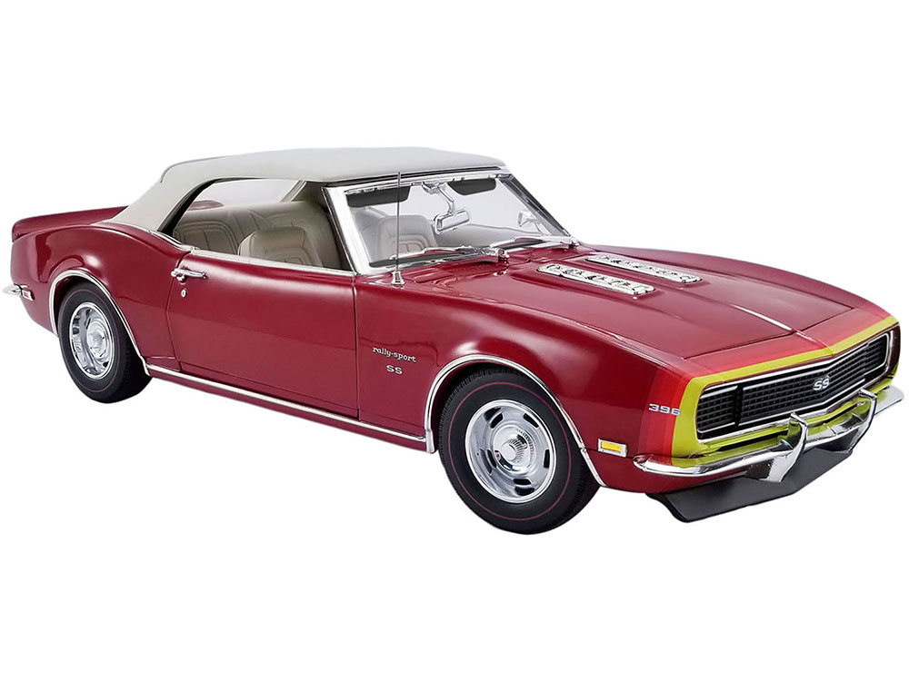 1968 Chevrolet Camaro SS Unicorn Convertible Matador Red with White Top and D88 Stripes Limited Edition to 456 pieces Worldwide 1/18 Diecast Model Ca