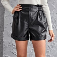 Paperbag Waist Roll Hem PU Leather Shorts