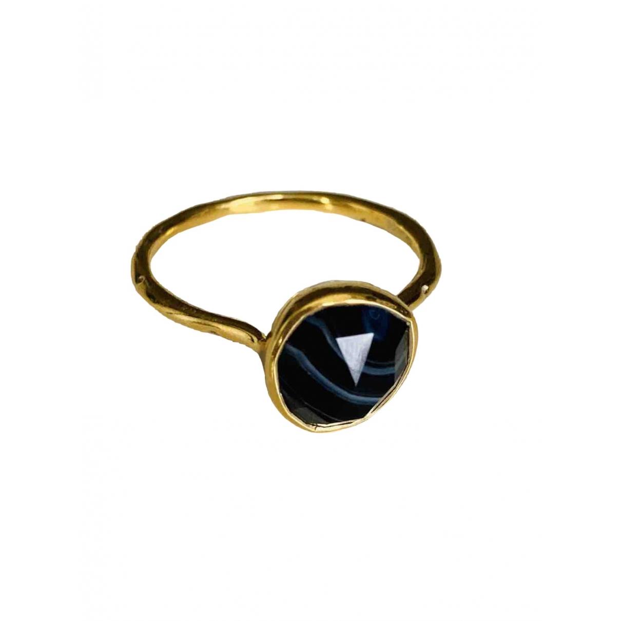 Monica Vinader - Bague   pour femme en plaque or - noir