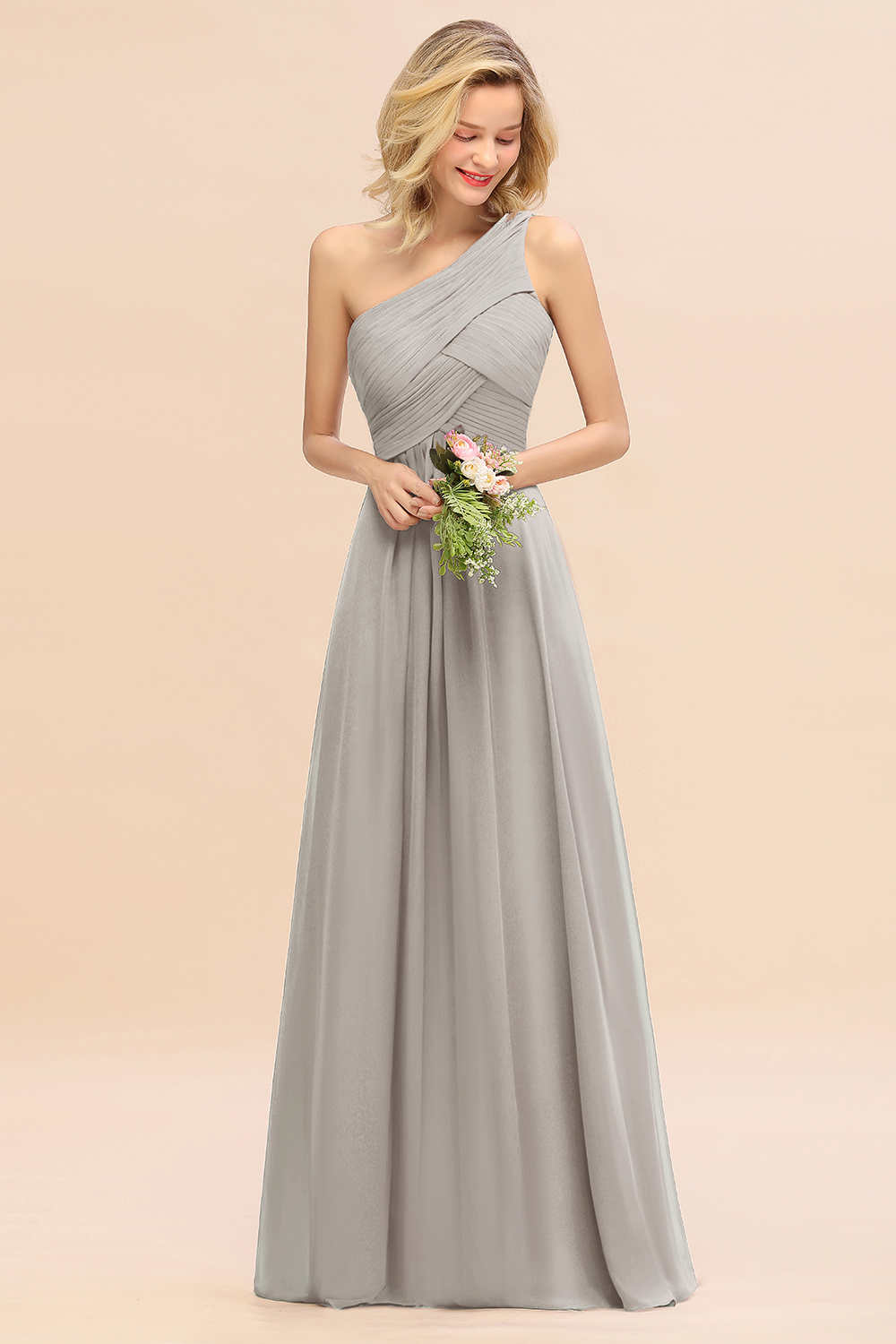 BMbridal Chic One Shoulder Ruffle Grape Chiffon Bridesmaid Dresses Online