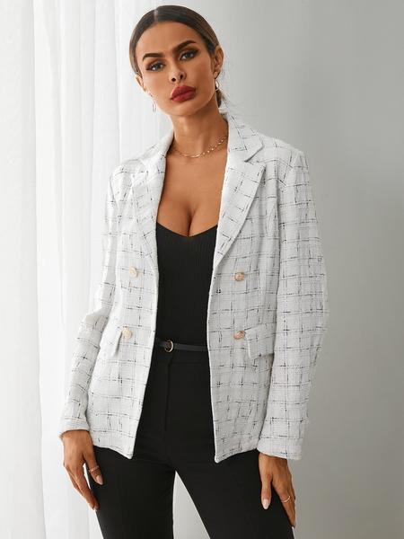 YOINS White Plaid Pocket Button Design Long Sleeves Blazer