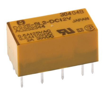 Panasonic DPDT PCB Mount Latching Relay - 3 A, 12V dc