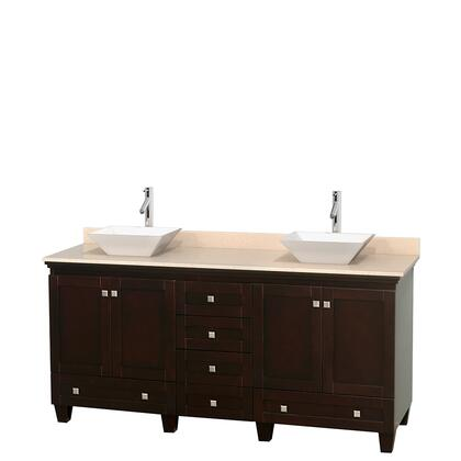 WCV800072DESIVD2WMXX 72 in. Double Bathroom Vanity in Espresso  Ivory Marble Countertop  Pyra White Sinks  and No