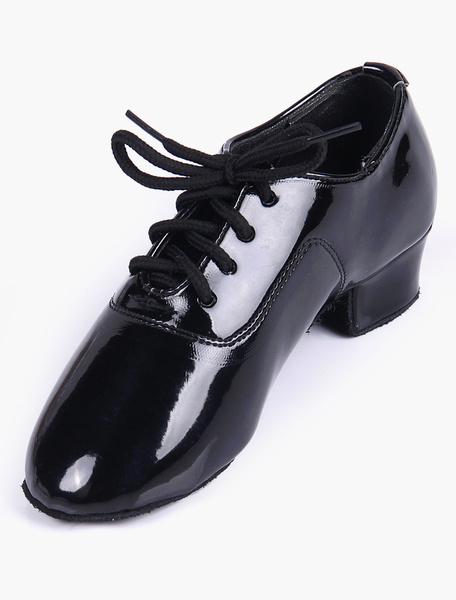 Milanoo Zapatos de jazz de salon de baile superior, de calidad superior, con punta de almendra suave, en color negro, para niños