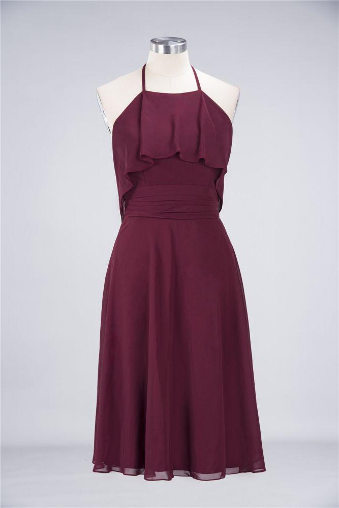 Robe de demoiselle dhonneur longue au genou en chiffon a-line sans manches avec licou