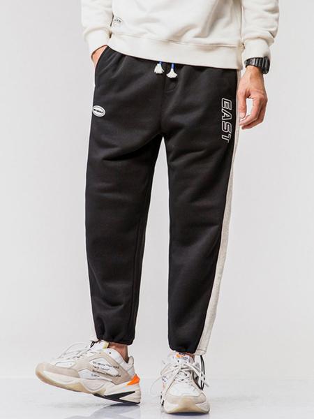 Milanoo Pants For Men Casual Natural Waist Straight Sweatpants Grey Men\s Pants
