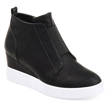 Journee Collection Womens Clara Wedge Sneaker, 8 Medium, Black