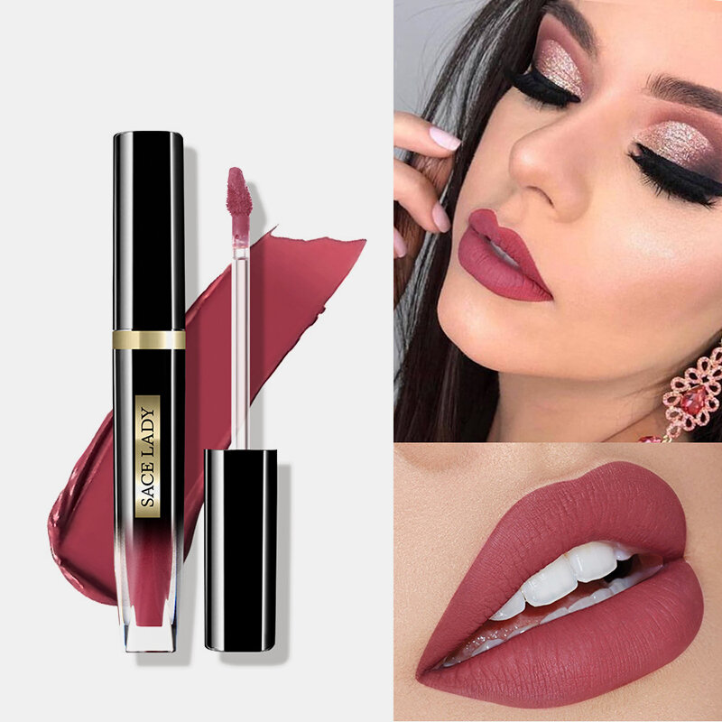 12 Colors Matte Lip Gloss Waterproof Makeup Long Lasting Non-Fading Nude Lip Glaze Lipstick