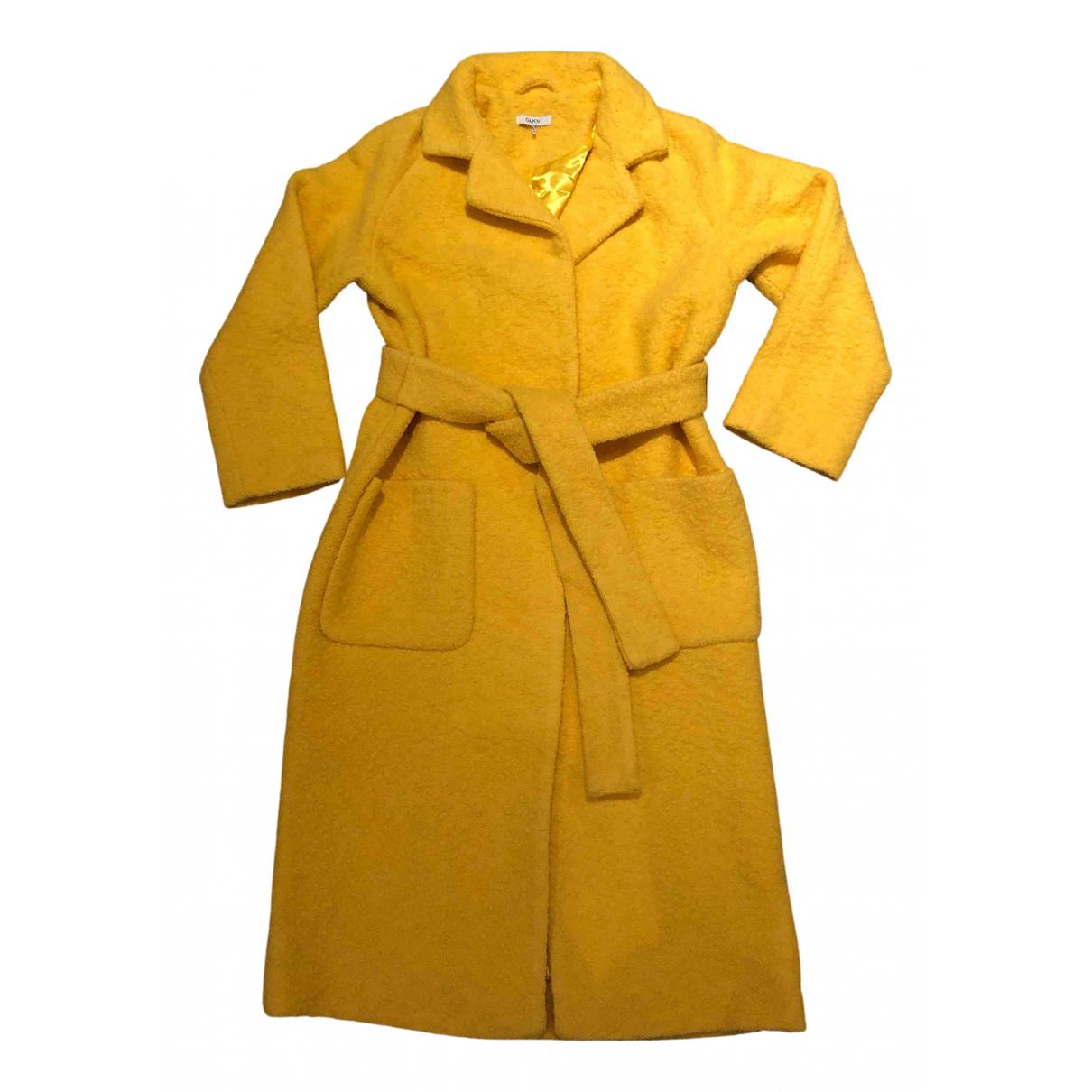 Ganni - Manteau   pour femme en laine - jaune