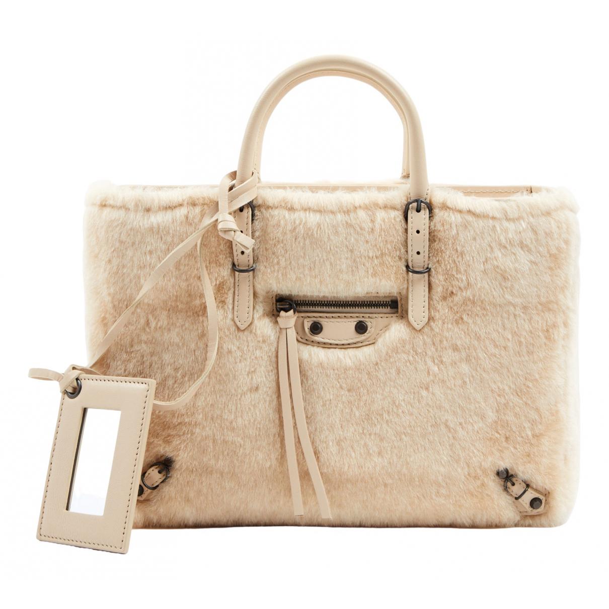 Balenciaga Papier Handtasche in  Beige Wolle