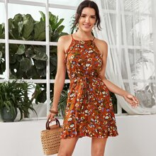 Botanical Print Ruffle Trim Cami Dress