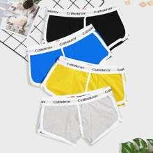 4 Stuecke Maenner Boxershorts mit Kontrast Bindung und Buchstaben Band