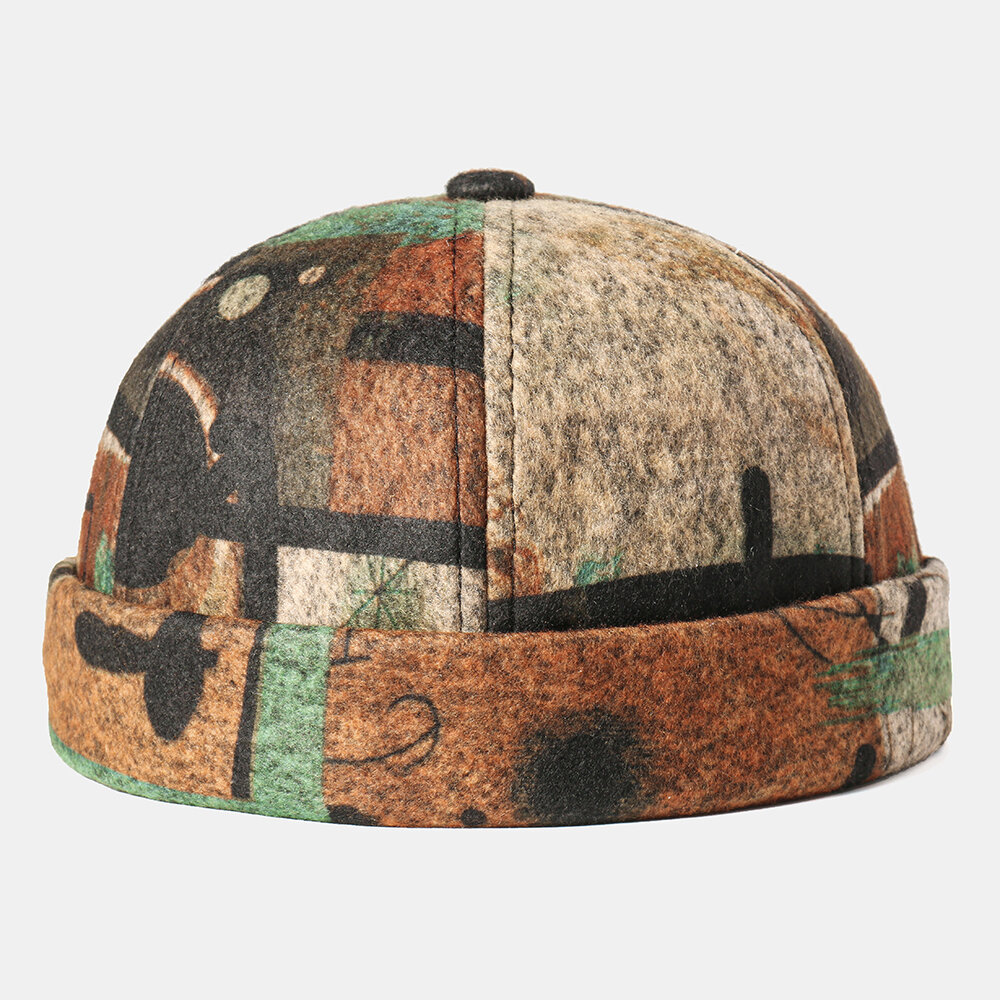 Abstract Pattern Brimless Skull Cap Multicolor Soft Felt Customized Hats