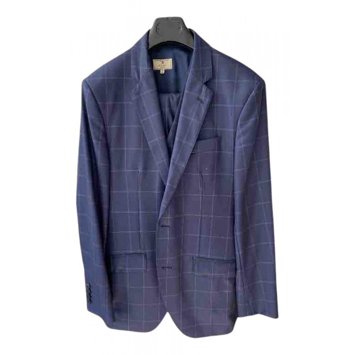 Hackett London N Blue Wool Suits for Men 40 UK - US