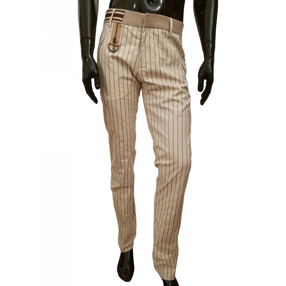 Just Cavalli \N Beige Cotton Trousers for Men 46 IT