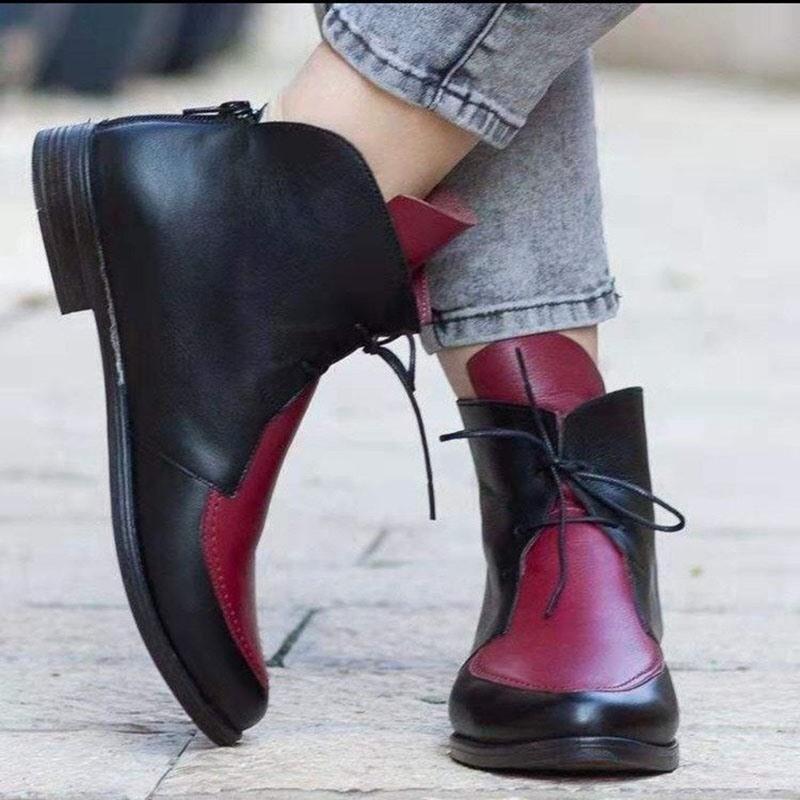 Ericdress Color Block Block Heel Pointed Toe PU Boots