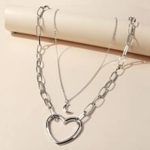 2pcs Moon & Heart Charm Necklace