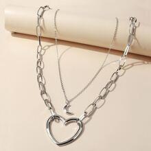 2 piezas collar con diseño de luna y corazon