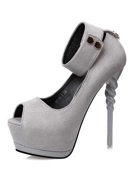 Milanoo Zapatos burdeos sexy para mujeres Plataforma Peep Toe Correa de tobillo Sandalias Zapatos de tacon alto