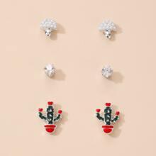 3pairs Cactus & Mushroom Stud Earrings