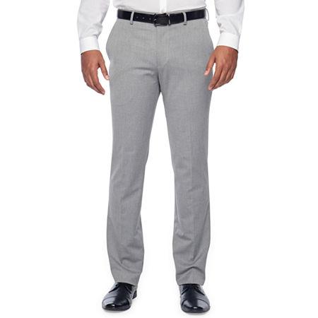 JF J.Ferrar Light Gray Texture Mens Stretch Slim Fit Suit Pants, 29 32, Gray