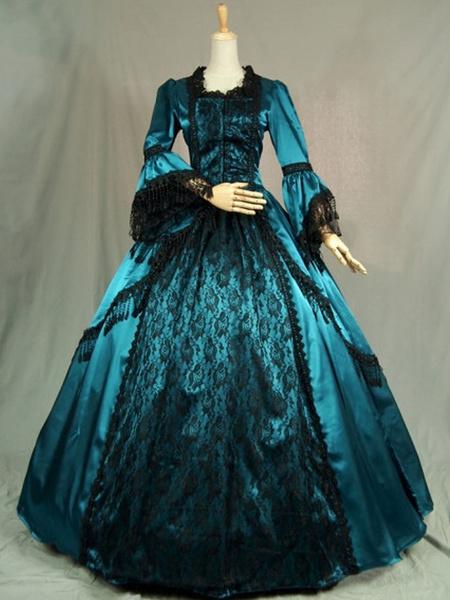 Milanoo Victorian Dress Costume Long Sleeves Teal Ruffles Silk Long Sleeves Lace Dress Victorian era Style Masquerade Ball Gown Retro Dress