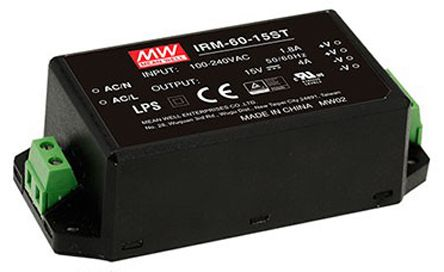 Mean Well , 60W Encapsulated Switch Mode Power Supply, 15V dc, Encapsulated
