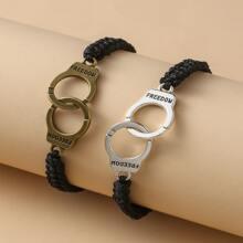 2 piezas pulsera de pareja de cuerda con diseño de esposas
