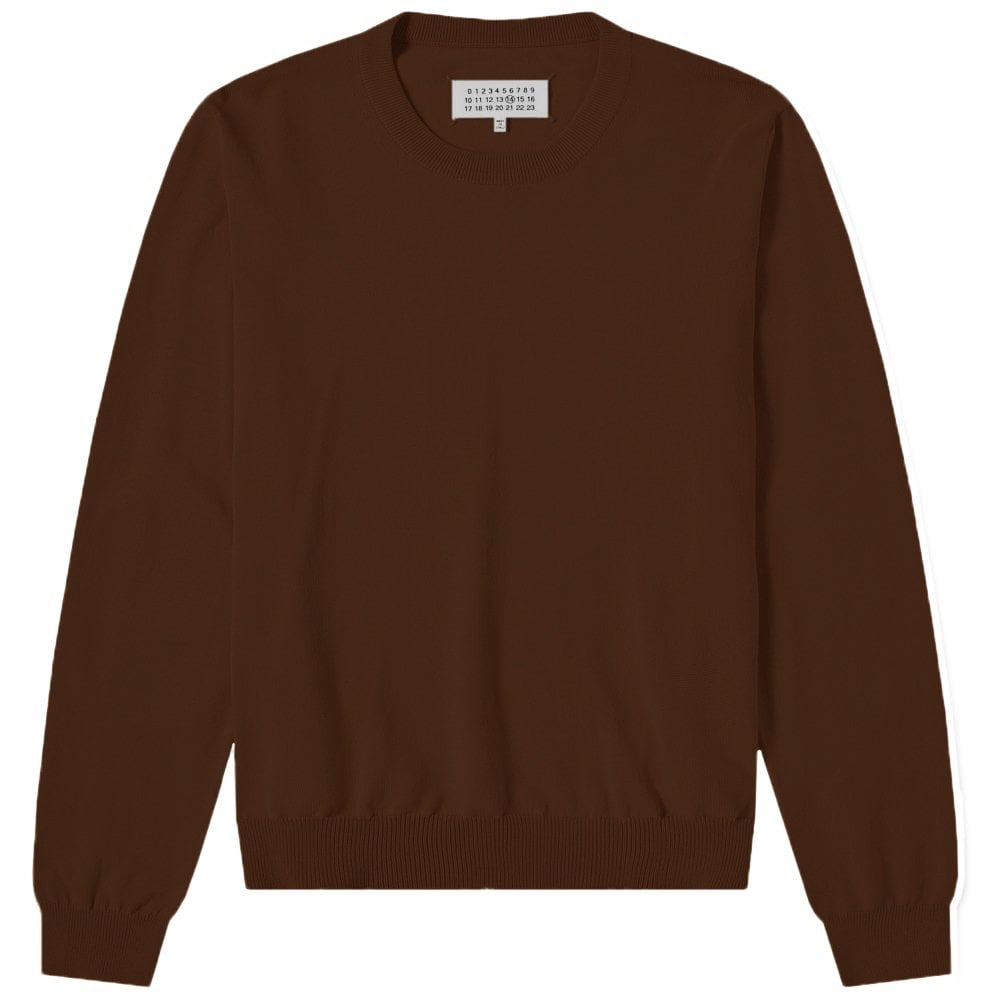 Maison Margiela Elbow Patch Pullover Jumper Colour: DARK BROWN, Size: LARGE