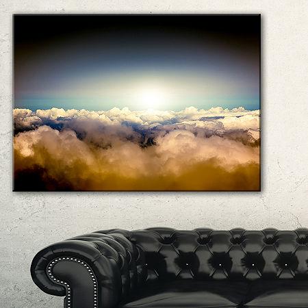 Designart Gloomy Sky Above Clouds Canvas Art, One Size , Blue