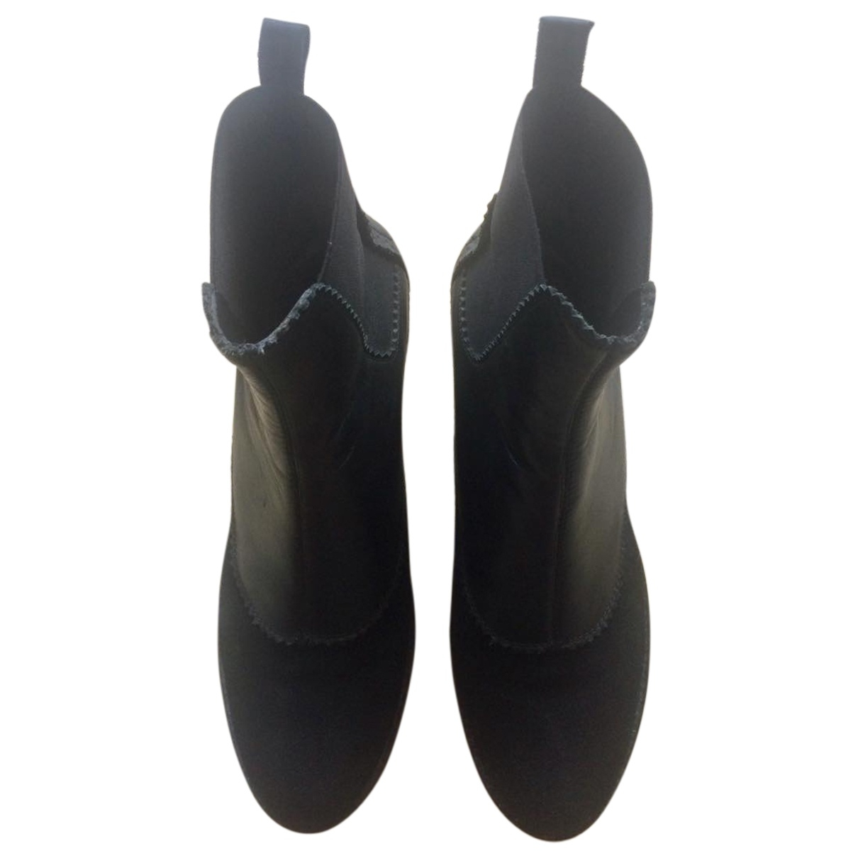 Armani Jean - Boots   pour femme en cuir - noir
