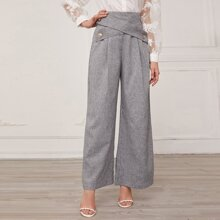 Crisscross Buttoned Front Wide Leg Pants