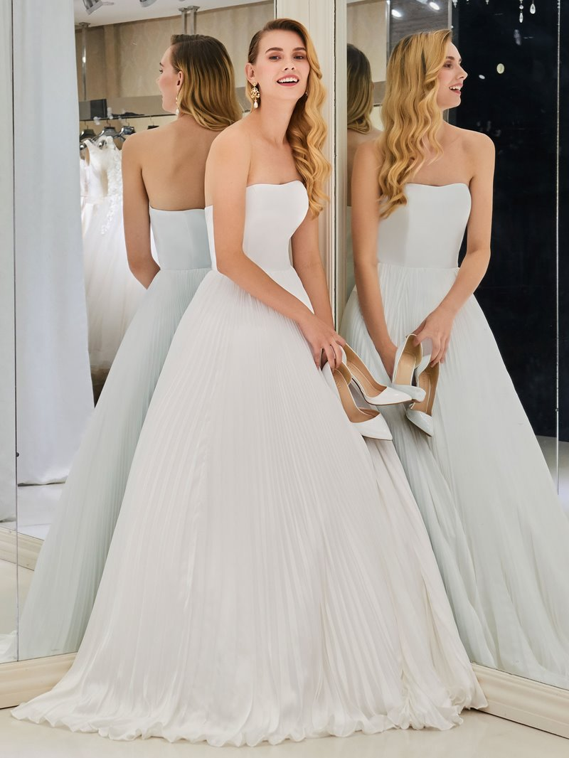 Ericdress Strapless A Line Pleats Beach Wedding Dress