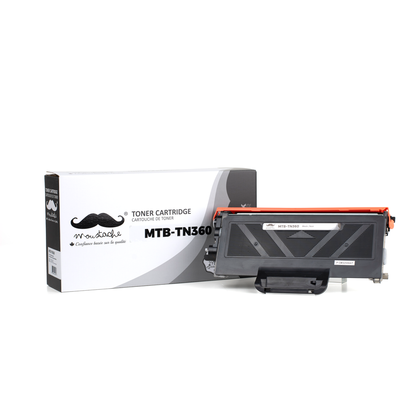 Compatible Brother TN360 Black Toner Cartridge by Moustache, High Yield