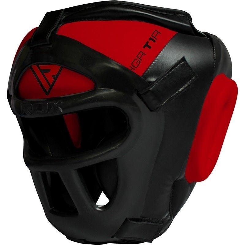 RDX T1 Combox Grille Casque Moyenne  Rouge Cuir PU