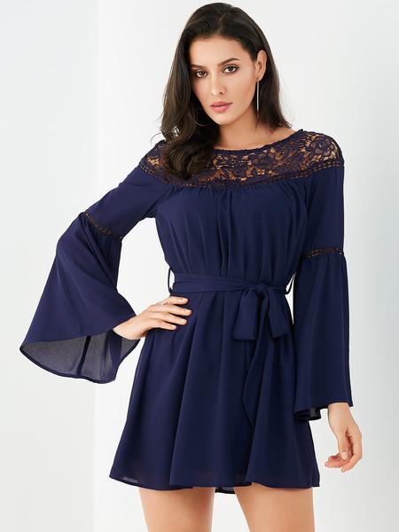 YOINS Navy Lace Patchwork Belt Design Bell Sleeves Dress