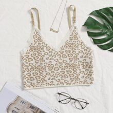 Strick Cami Top mit Spitzenbesatz und Leopard Muster