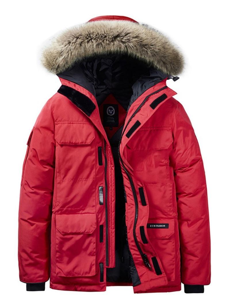 Ericdress Zipper Mid-Length Hooded Casual Men's Down Jacket