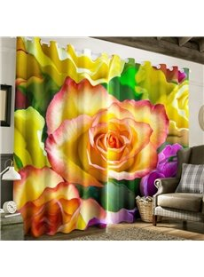 3D Blooming Rose Printed Pastoral Style 2 Panels Bedroom Window Drape