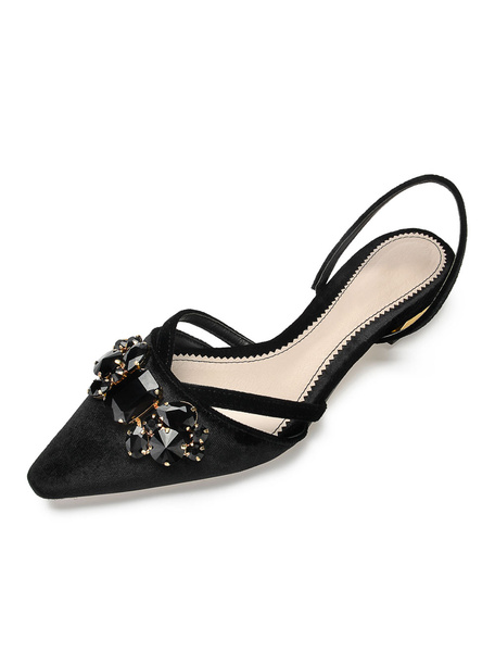 Milanoo Black Ballet Flats Women Pointed Toe Rhinestones Slingbacks Flat Shoes