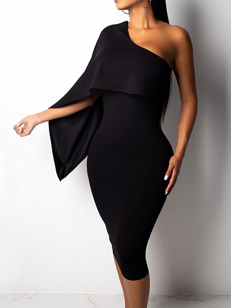 Ericdress Pencil Party Asymmetric Mid-Calf One-Shoulder Plain Dress