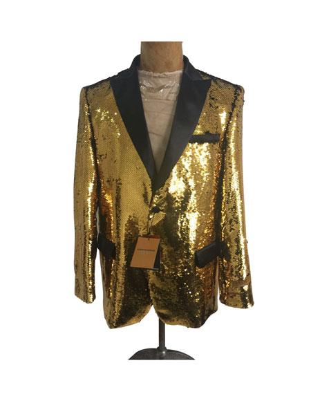 Mens One Button Single Breasted Gold Suit