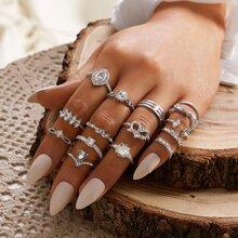 15 piezas anillo grabado con diamante de imitacion