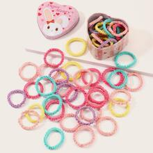 50pcs Toddler Girls Simple Hair Tie With Box