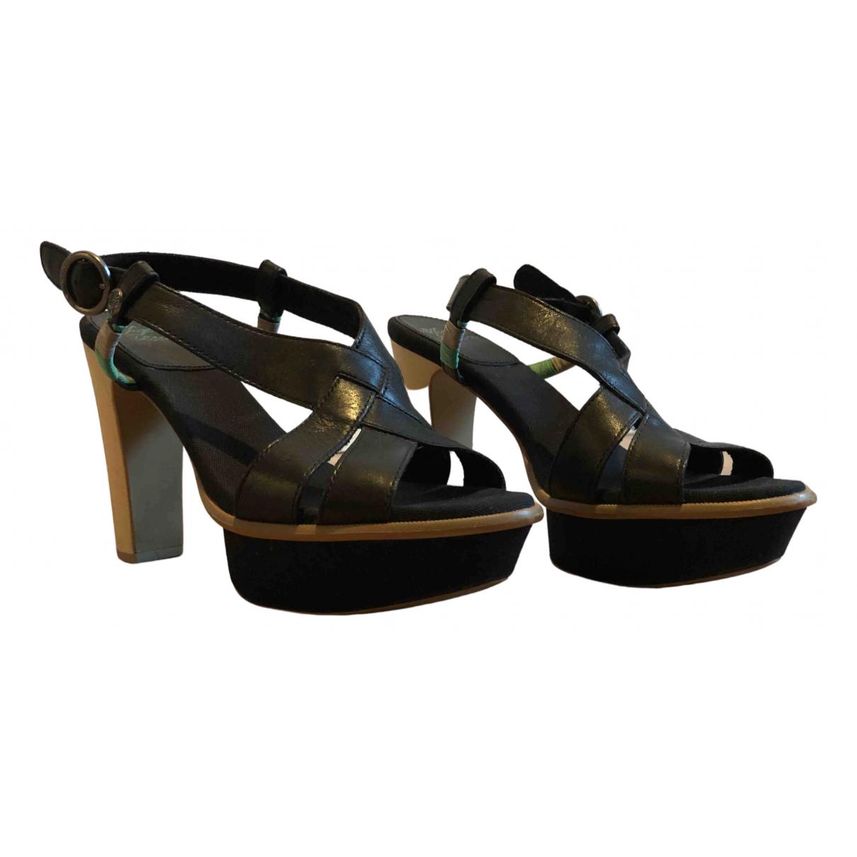 Tommy Hilfiger N Black Leather Heels for Women 42 EU