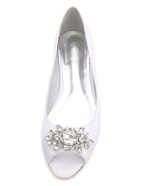 Milanoo Mother Of Bride Shoes Peep Toe Rhinestones Wedding Guest Flat Shoes