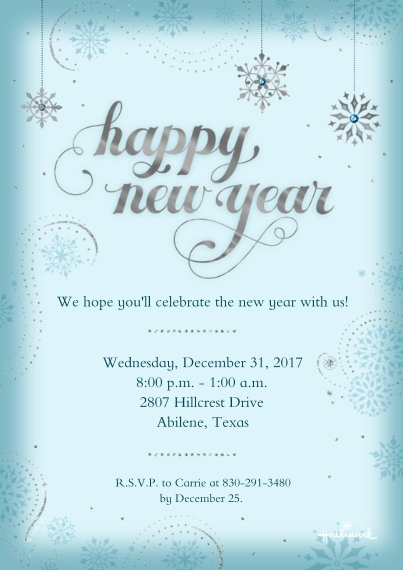 New Year's 5x7 Cards, Premium Cardstock 120lb with Scalloped Corners, Card & Stationery -Sparkling Snowflakes Invitation