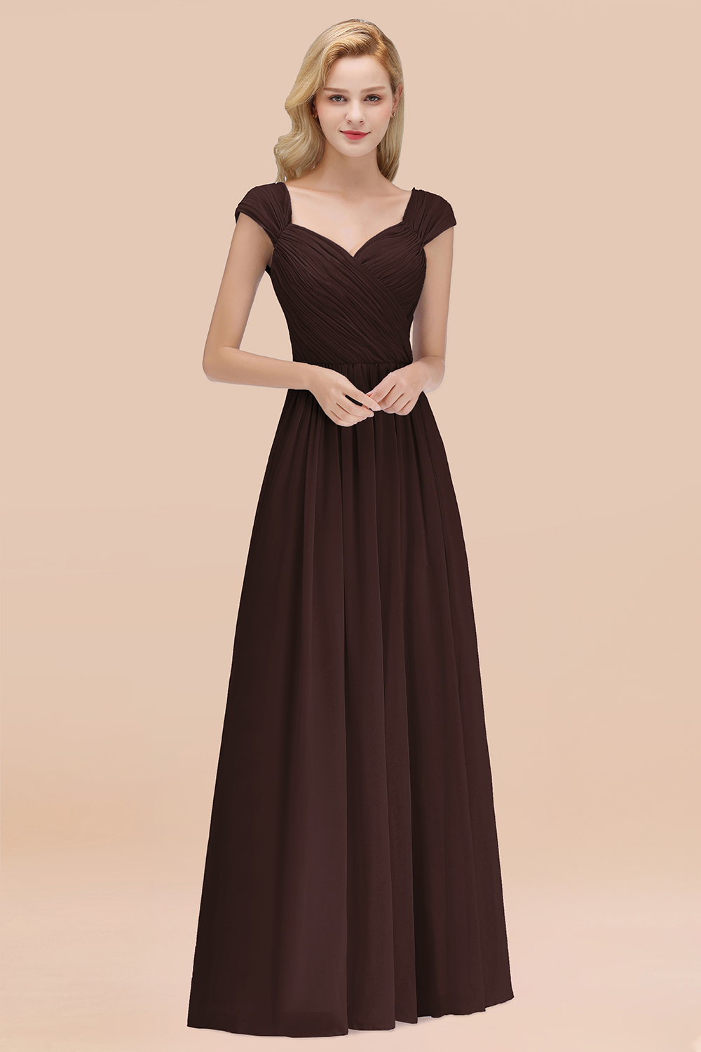 BMbridal Modest Chiffon Sweetheart Sleeveless Affordable Bridesmaid Dresses with Ruffles